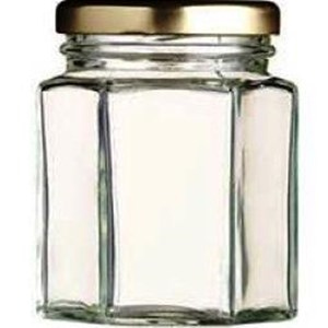 Toples 250 ml (320 g) Hexagon Glass Jar with metal lid P016