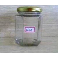 Jual Toples 200 ml Hexagon Glass Jar with metal lid P014