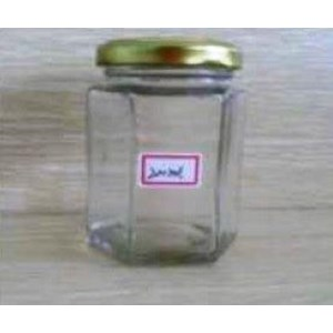 Toples 200 ml Hexagon Glass Jar with metal lid P014