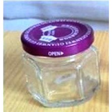 Toples 45 ml Hexagon Glass Jar with metal lid P008