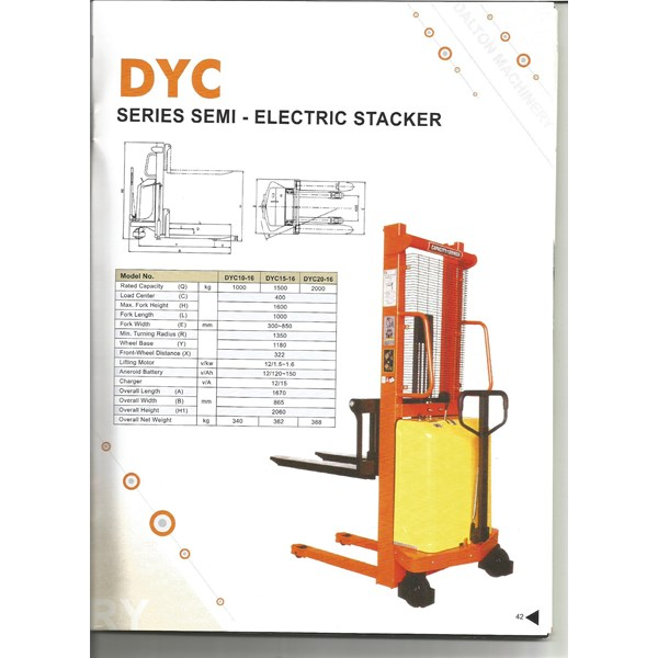 Semi Electric Stacker Dalton 1 Ton