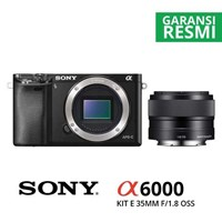 Kamera Digital Mirrorless Sony A6000 Kit Sel 35Mm F/1.8 Oss Hitam 1