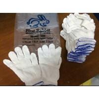 Jual Sarung tangan benang Blue Rabbit 5 Benang List Biru