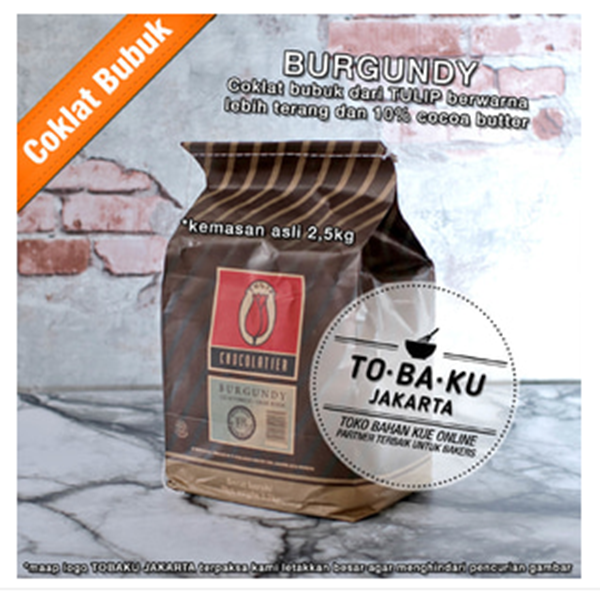 Coklat Bubuk Tulip Burgundy Pure Dark Cocoa Powder