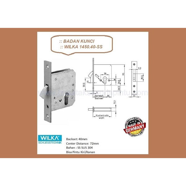 Kunci Handle Pintu Badan Kunci Wilka 1450/40-SS