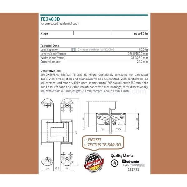 Engsel Tectus TE-340-3D