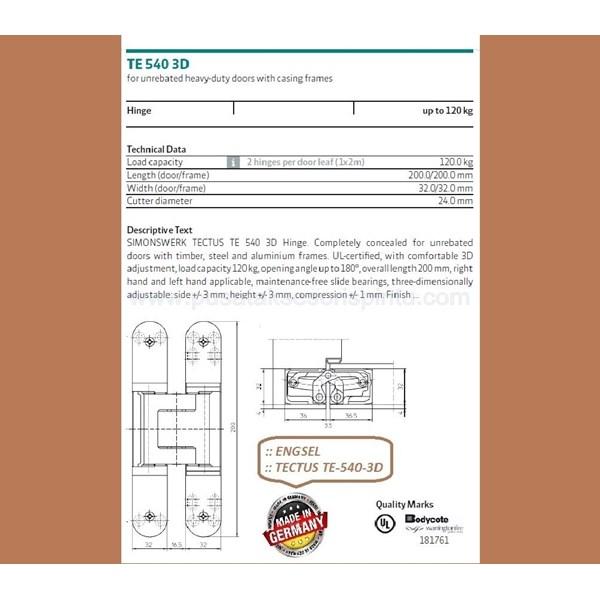 Engsel Tectus TE-540-3D