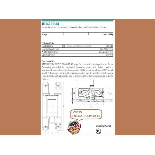Engsel Tectus TE-640-3D-A8