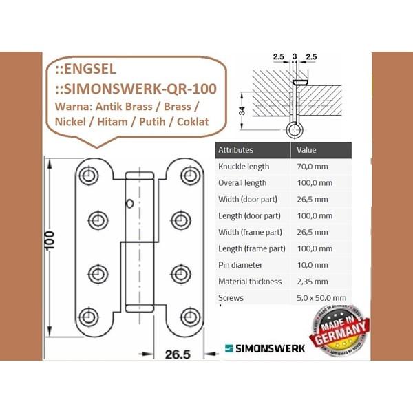 SALE Engsel Pintu dan Jendela Simonswerk QR-100-Coklat