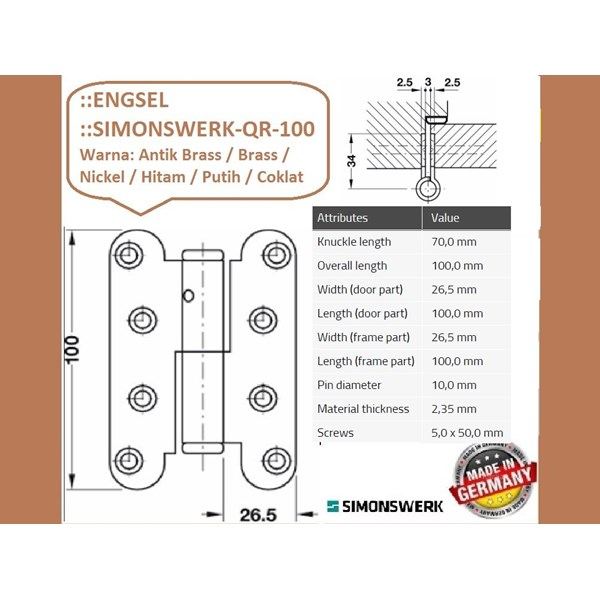 SALE Engsel Pintu dan Jendela Simonswerk QR-100-Hitam