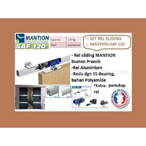 Set Pintu Geser Mantion SAF - 120 - 200 + Penutup Rel