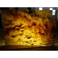 Onix Putih Kuning Corak Gelombang Slab (O 189) Onyx Bubble Import 1