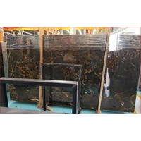 Distributor Marmer Nero Portoro Gold Marmer Hitam Corak Abstak Marmer  Italy-Slab 3