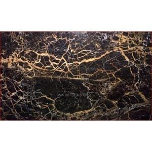 Marmer Nero Portoro Gold Marmer Hitam Corak Abstak Marmer  Italy-Slab