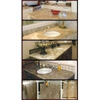 Meja Marmer Coklat Muda Ex Turky Meja Dapur Kitchen Wastafel Bar Pantry Counter