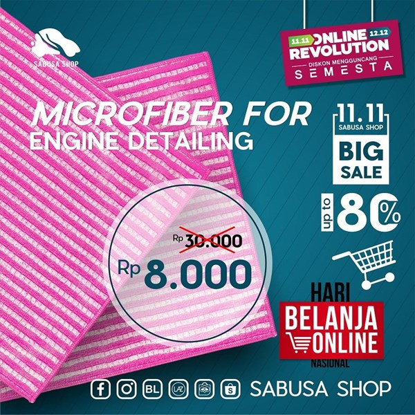 Lap Microfiber Serat Bambu for Engine Detailing