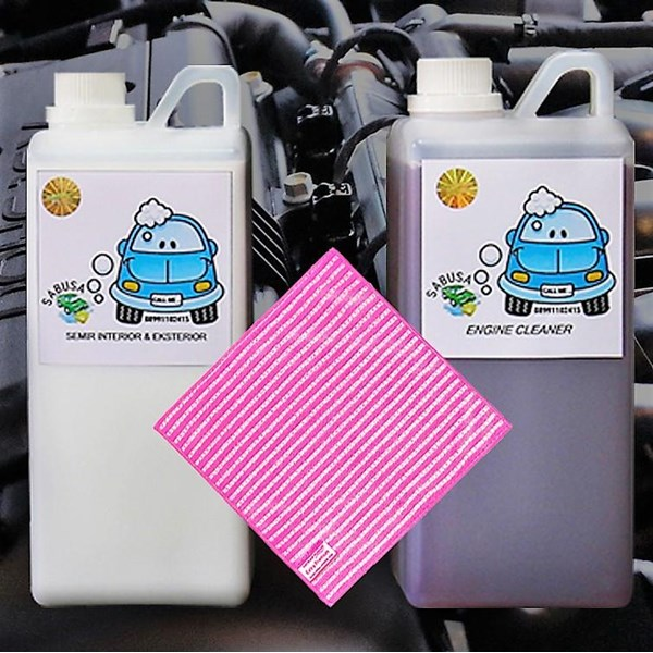 Paket Pembersih Mesin Mobil Engine Cleaner Engine Degreaser Engine Dressing Lap Microfiber Engine Detailing
