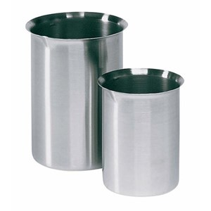 Alat Laboratorium Umum Cole Parmer Stainless Steel Griffin Style Beaker With Easy Pour Rim 4000Ml