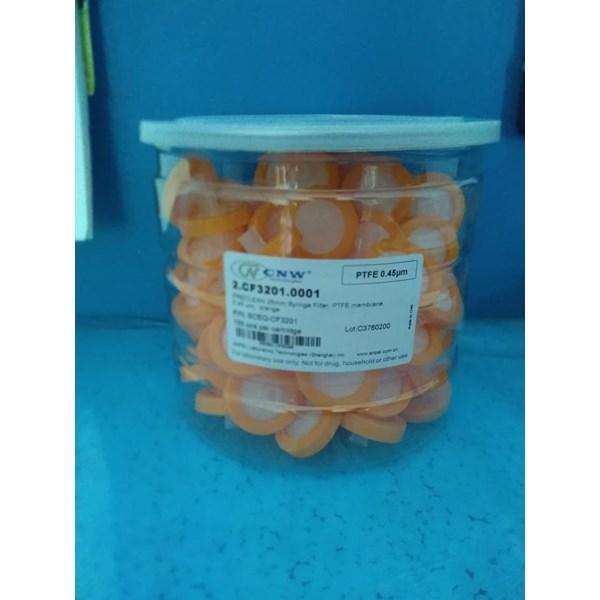 Syringe Filter PTFE (hydrophobic) 0.45um 25mm Orange Certificate