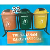 Tempat Sampah Triple Tanam 50 Liter