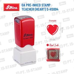 Shiny Oa Pre-Inked Stamp Teacher (Heart) S-Hs004