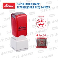Shiny Oa Pre-Inked Stamp Teacher (Smile Red) S-Hs023 1