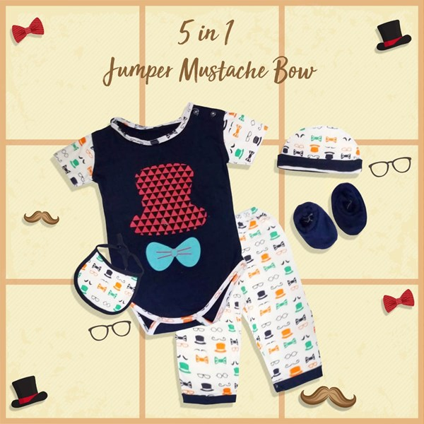 Baju Bayi Jumper Viinata Dev Vr - Mustache Set