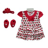Baju Bayi Dress Bayi Vinata Pon Pon - Strawberry