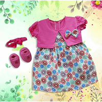 Baju Bayi Dress Bayi Vinata Pon Pon Ve - Flowers Cardy