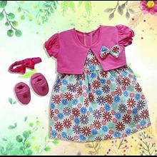 Baju Bayi Dress Bayi Vinata Pon Pon Ve - Flowers C