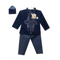 Jual Baju Anak Baju Koko Bayi Vinata Denim Pattern - Panjang