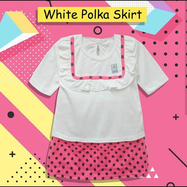 Baju Bayi Setelan Bayi Vinata Dev Vo - White Polka Skirt