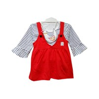 Pakaian Bayi Dress Vinata Ve - Overall Stripe Chicken