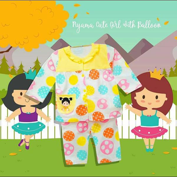 Pakaian Bayi Piyama Bayi Vinata Vo - Cute Girl With Balloon