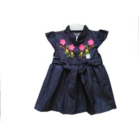 Vinata Ve Baby Dress Baby Clothes - Flowers Denim