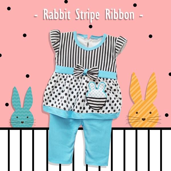 Pakaian Bayi Setelan Bayi Cewe Vinata Vo - Rabbit Stripe Ribbon