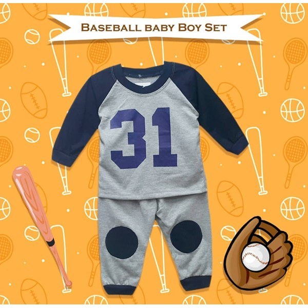 Baju Bayi Setelan Bayi Cowo Vinata Vo - Baseball Baby Boy Set