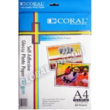 CORAL GLOSSY PHOTO STIKER PAPER 120GSM A4