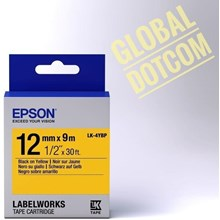 Epson label 12mm black on yellow 9m labelworks tape cartridge LK-4YBP