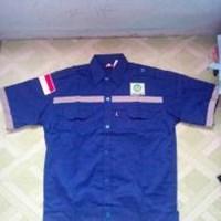 Jual baju kerja atasan pendek safety warna Biru BCA ukuran XXXL murah WA 085288918182