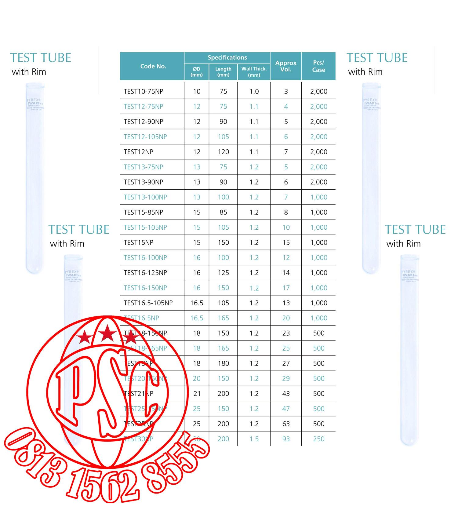 Flow Force Indonesia: Sell Test Tube & Tube Color Nessler Pyrex Iwaki From