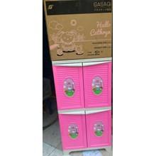 Lemari plastik untuk anak motif Hallo Cathryn merk pabrik Gasaqi