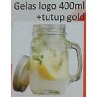 Beli perlengkapan restoran Gelas segi logo kaca 400 ml dan tutup warna emas 4