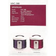 alat dapur lainnya Rice Cooker masin penanak nasi kode KRC 388 merk Kirin elektronik