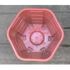 taman Pot bunga plastik no Segi enam warna merah bata no 30 Merk Eko Plast 5