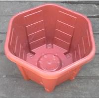 Distributor taman Pot plastik no Segi enam warna merah bata no 30 Merk Eko Plast 3