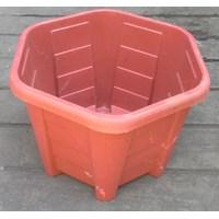 Jual taman Pot plastik no Segi enam warna merah bata no 30 Merk Eko Plast 2