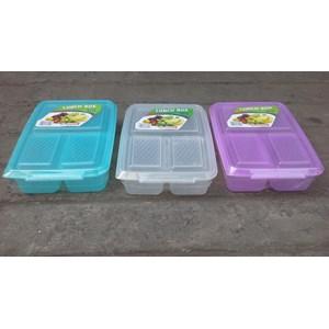 Kotak Makan tepak makan sekat atau lunch box 0718 merk DianSari plast