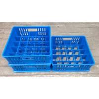 Beli keranjang plastik Tempat krat gelas isi 25 pcs bersekat 5x5 merk 7001 rabbit warna biru 4
