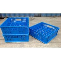 Jual keranjang plastik Tempat krat gelas isi 25 pcs bersekat 5x5 merk 7001 rabbit warna biru 2